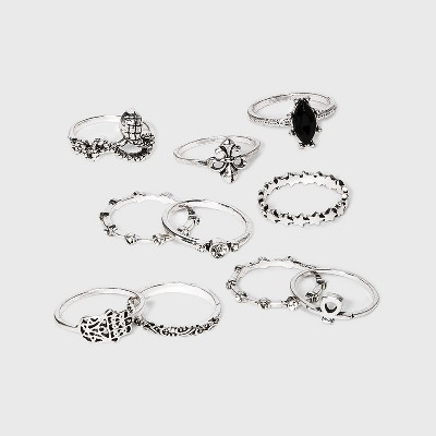 Silver Ox and Stones Multi Ring Set - Wild Fable™ Silver