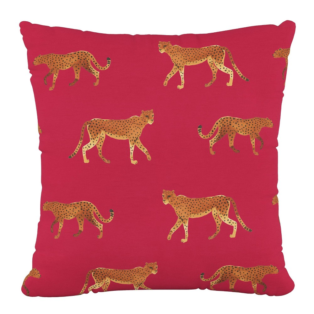 """Image of """"18""""""""x18"""""""" Polyester Pillow in Cheetah Walk Raspberry - Cloth & Company"""""""