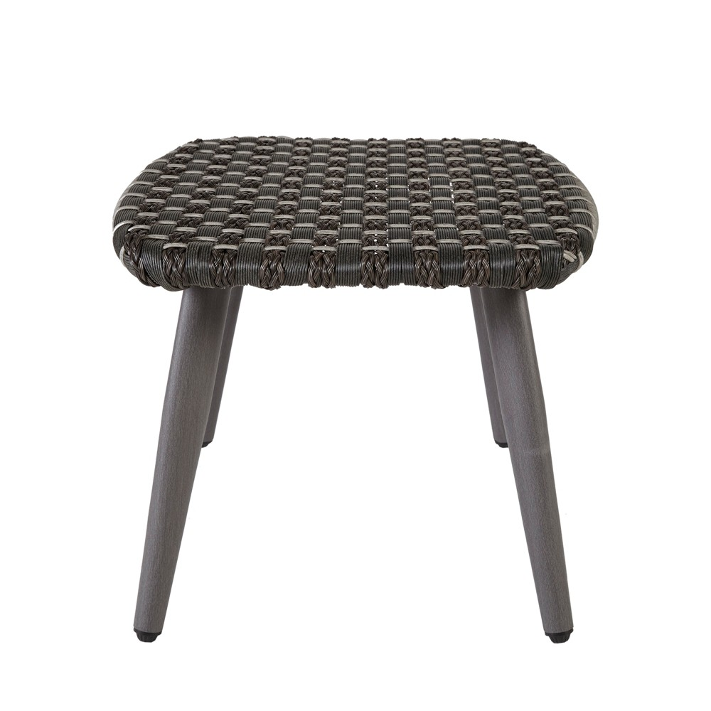 Laporte Outdoor Resin Wicker Basketweave Ottoman Dark Gray