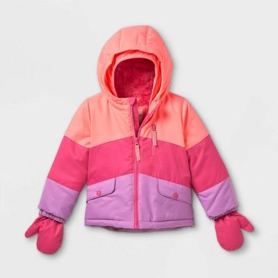 Toddler Girls' Colorblock Ski Jacket - Cat & Jack™ Pink/Purple