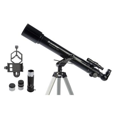 Celestron PowerSeeker 70AZ Telescope with Basic Smartphone Adapter - Black