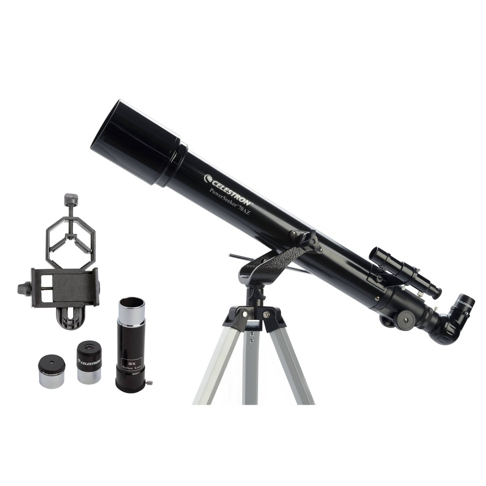 Image of Celestron PowerSeeker 70AZ Telescope with Basic Smartphone Adapter - Black