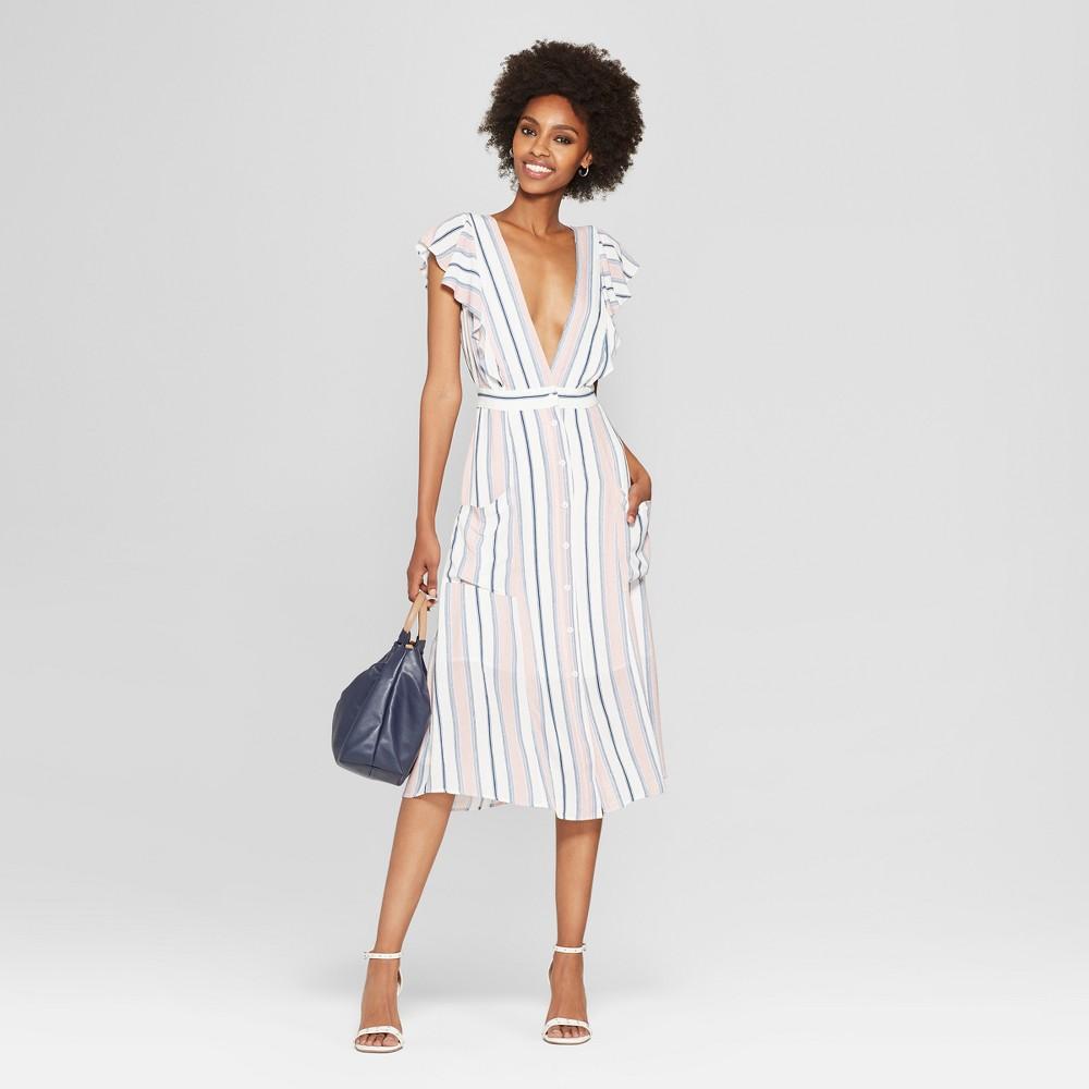 Women's Striped Short Sleeve Midi Dress - Needlework Blush S, Blue Pink