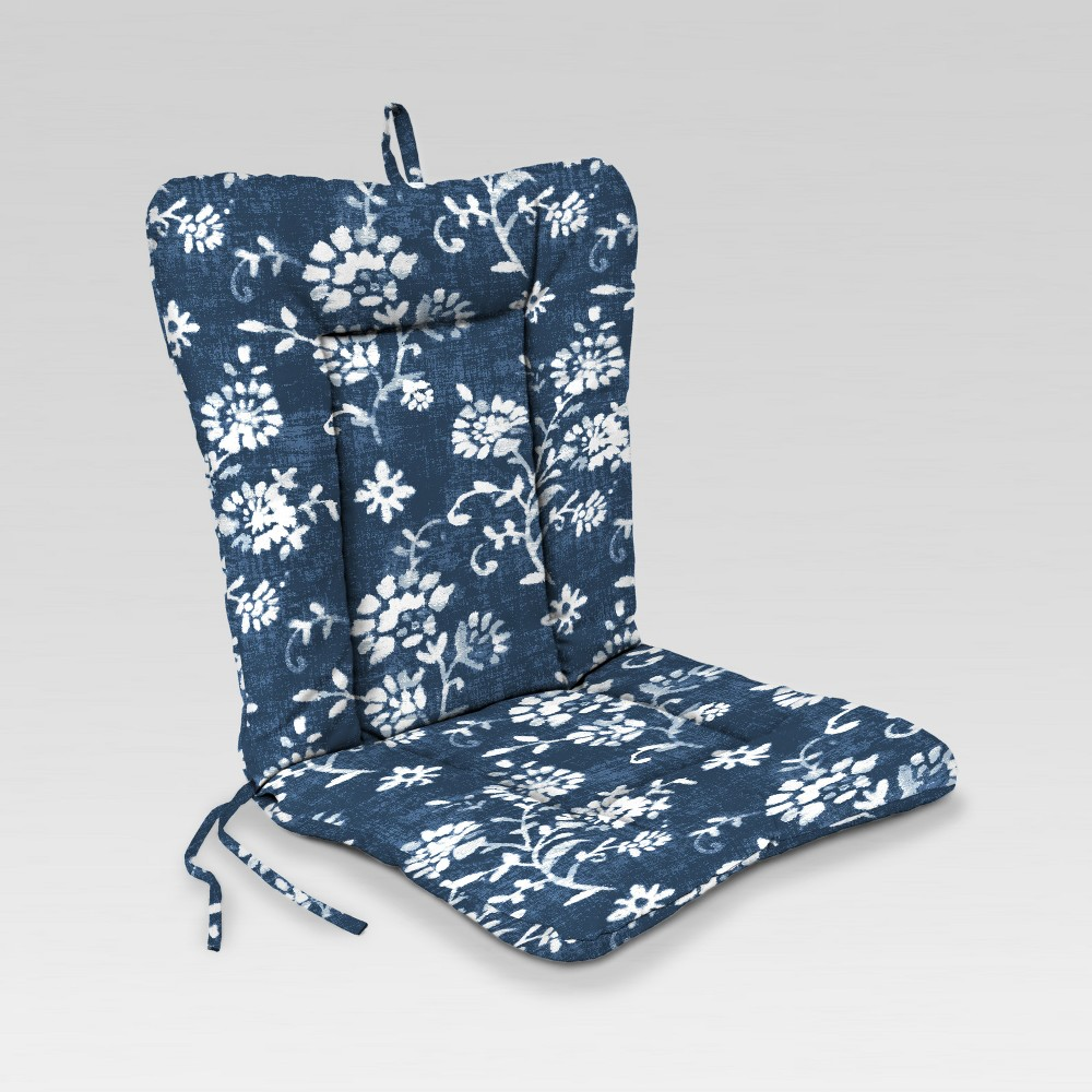 Outdoor Knife Edge Euro Style Dining Chair Cushion - Navy Floral - Jordan Manufacturing