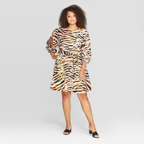 Women's Plus Size Animal Print 3/4 Sleeve Crewneck A Line Dress - Who What Wear™ Brown - image 1 of 3
