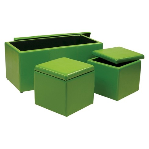 3 Piece Metro Ottoman Set Green - Office Star - image 1 of 1