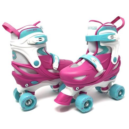 Chicago Skates Adjustable Kids' Quad Roller Skate - Pink/White - image 1 of 4