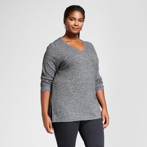 1fd0bab855b Women s Plus Size Ribbed Long Sleeve Tee - Ava   Viv™ Black 3X   Target