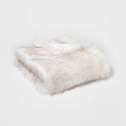 Tipped Faux Fur Throw Blanket Cream - Threshold™ - image 1 of 2