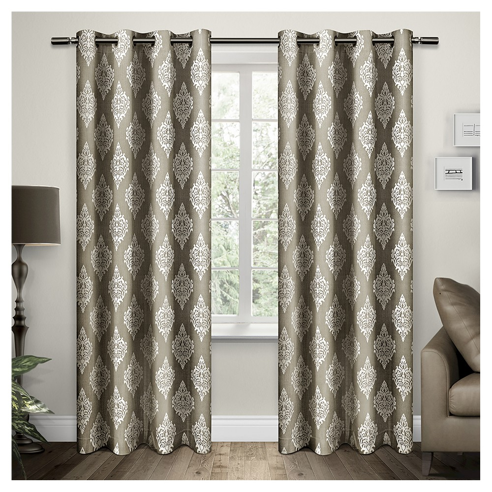 Exclusive Home Damask Curtain Panels - Set of 2 Panels - Taupe - 54
