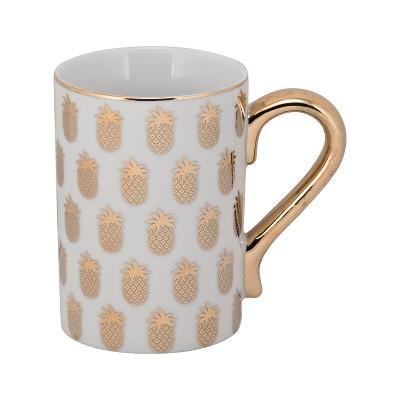 10 Strawberry Street Karly Porcelain Pineapple Mug 12oz Gold/White - Set of 4