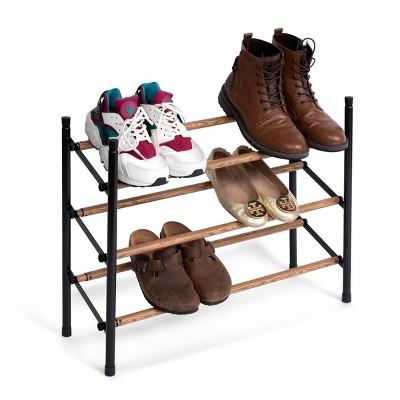 "Juvale Free Standing 3 Tier 18 Pair Shoe Rack Shelf Organizer for Entryway Closet, 24""-45"" Expandable, Black & Oak Grain Metal"