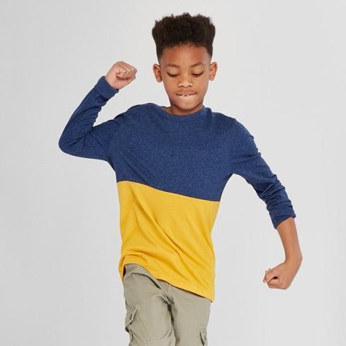 Boys' Long Sleeve T-Shirt - Cat & Jack™ Navy/Yellow S - image 1 of 3