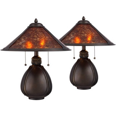 """Robert Louis Tiffany Traditional Accent Table Lamps 19"""" High Set of 2 Bronze Pottery Natural Mica Shade for Bedroom Bedside Office"""