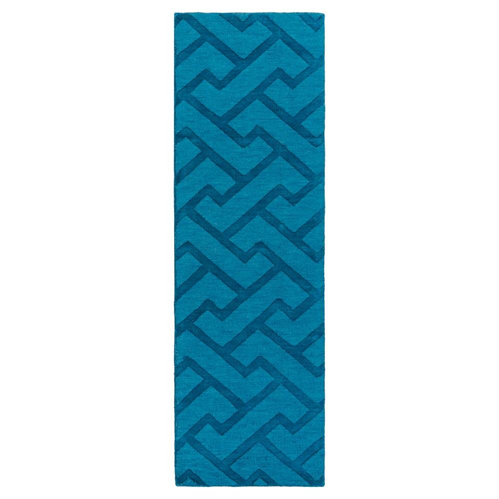 Blue Abstract Loomed Runner - (2'6X8' Runner) - Surya, Bright Blue