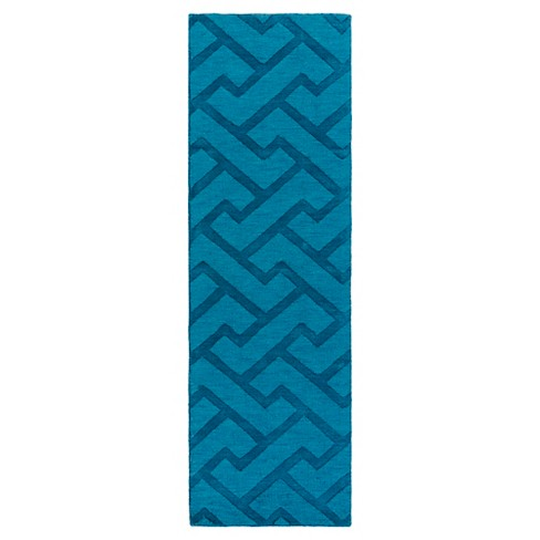 "Blue Abstract Loomed Runner - (2'6""X8' Runner) - Surya - image 1 of 1"