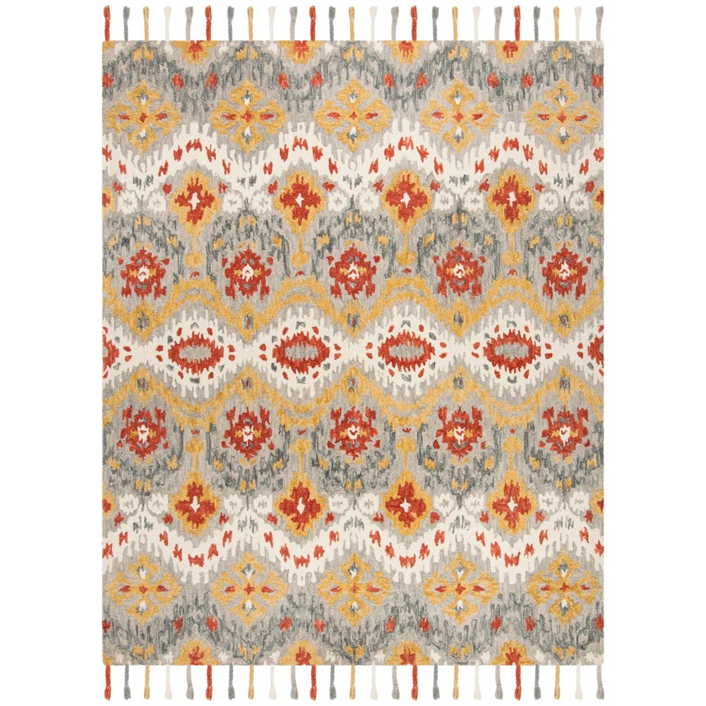 8'X10' Shapes Hooked Area Rug Gray/Gold - Safavieh