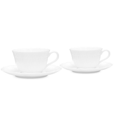 Noritake Cher Blanc Cup & Saucer Set (4 pieces), 7 oz.