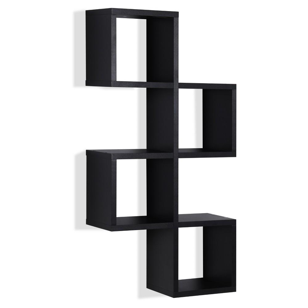 30 34 X 15 25 34 Cubby Chessboard Wall Shelf Black Danya B