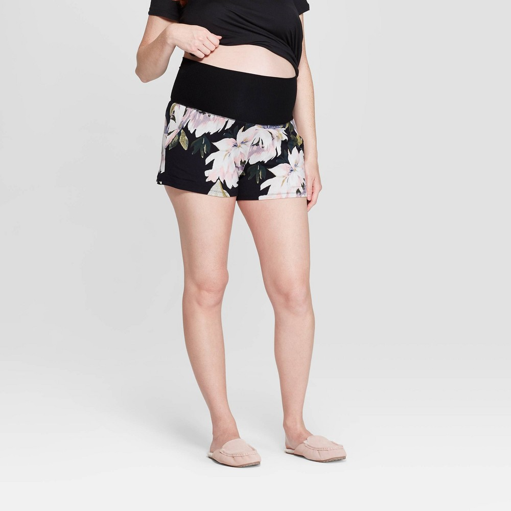 Women's Floral Print Beautifully Soft Postpartum Pajama Shorts - Stars Above Black XL