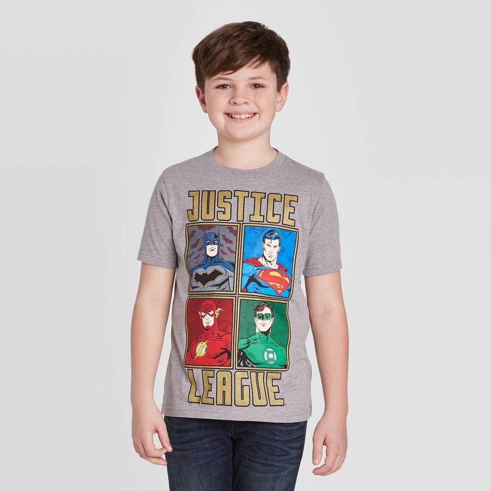 Image of petiteBoys' Short Sleeve DC Comics Justice League Four Square T-Shirt - Gray M, Boy's, Size: Medium