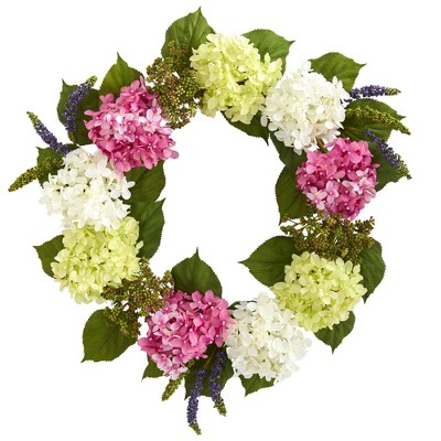 """23"""" Artificial Hydrangea Wreath Pink/White - Nearly Natural"""
