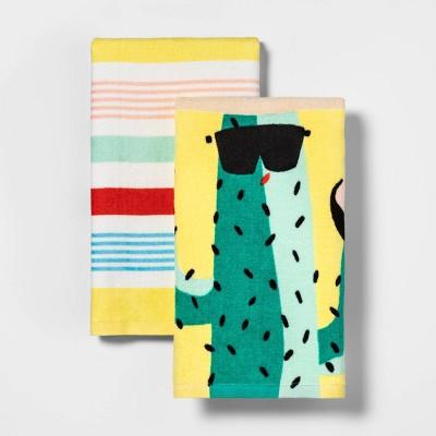 2pk Cactus & Variegated Stripe Kitchen Towels - Sun Squad™