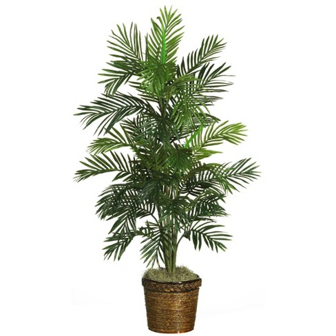 4.6ft Artificial Areca Palm Silk Tree in Basket - Nearly Natural - image 1 of 3