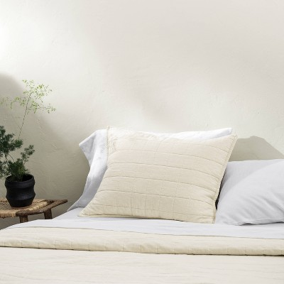 Standard Heavyweight Linen Blend Quilted Pillow Sham Natural - Casaluna™