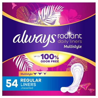 Always Radiant Multi Style Regular Daily Liners - 54ct