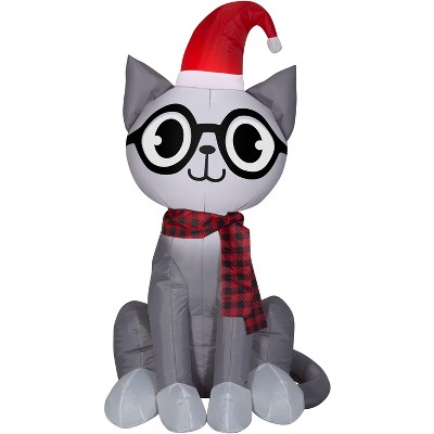 Gemmy Christmas Airblown Inflatable Nerdy Cat, 3.5 ft Tall, grey