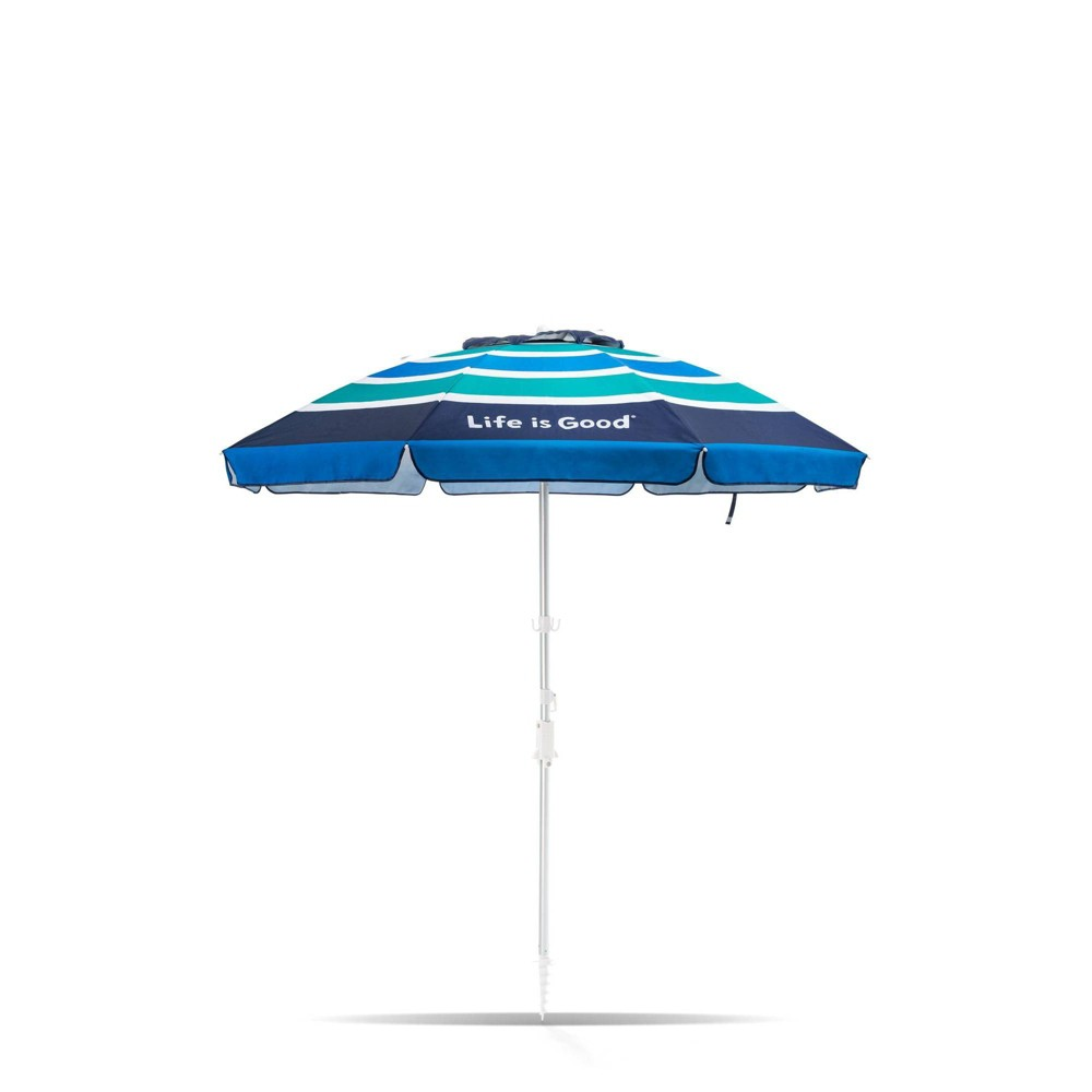 Image of 7' Aluminum Tilt Beach Umbrella Green/Blue Stripe - Life is Good