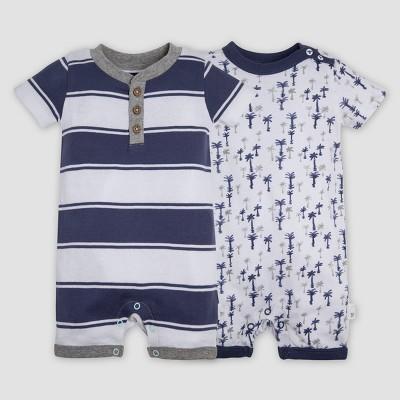 Burt's Bees Baby® Baby Boys' 2pk Organic Cotton Breezy Palms Rompers - Indigo 3-6M
