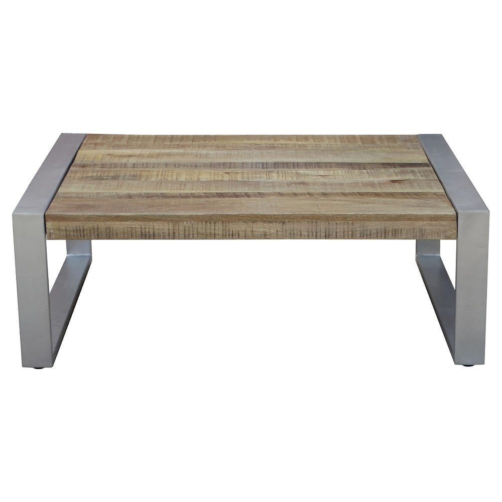 Handcrafted Reclaimed Wood and Silver Metal Coffee Table Natural - Timbergirl