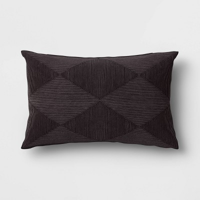 Cord Embroidered Geometric Lumbar Throw Pillow Black - Project 62™