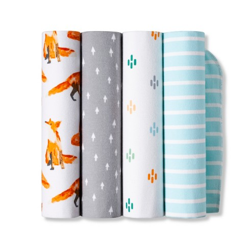 Flannel Baby Blanket - Cloud Island™? 4pk Foxes - image 1 of 1