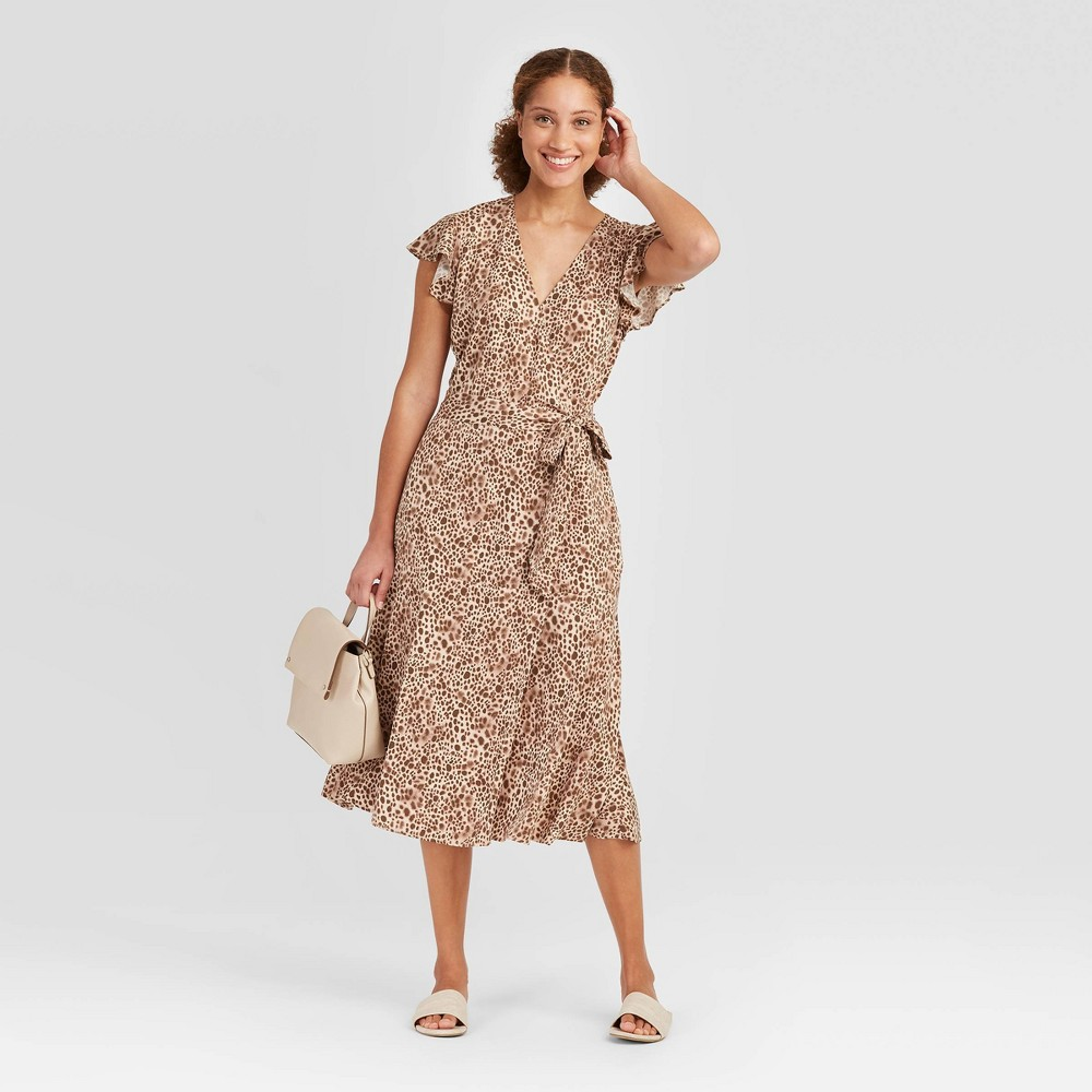 Women's Animal Print Flutter Short Sleeve Wrap Midi Dress - A New Day Brown XXL was $27.99 now $19.59 (30.0% off)