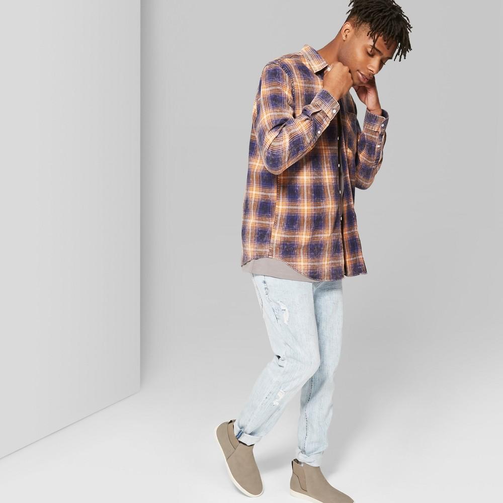 Men's Plaid Long Sleeve Washed Flannel Shirt - Original Use Persimmon Orange XS