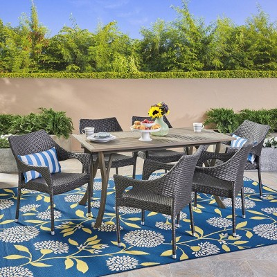 Nora 7pc Wicker and Acacia Wood Dining Set - Gray - Christopher Knight Home