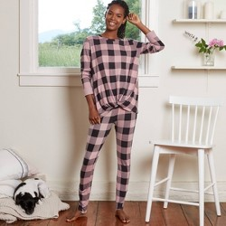 Women's Buffalo Check Cozy Long Sleeve Top and Leggings Pajama Set - Stars Above™ Pink
