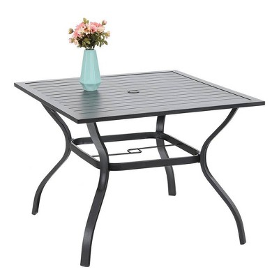 "37""x37"" Outdoor Square Dining Table with Umbrella Hole - Black - Captiva Designs"