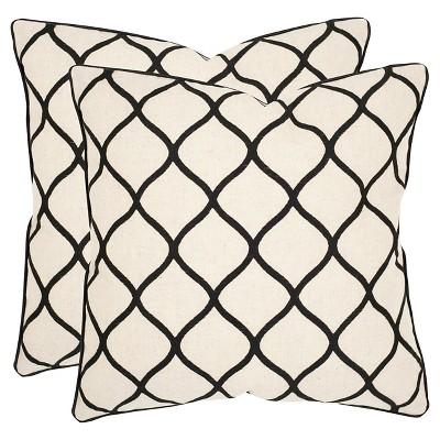 """Black Set Throw Pillow (18""""x18"""")- Safavieh"""