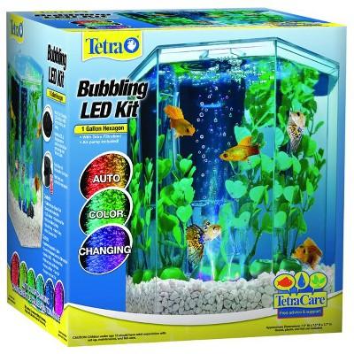 Tetra Bubbling LED Kit 1 Gallon, Hexagon Aquarium With Color-Changing Light Disc
