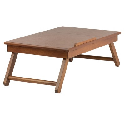 Alden Lap Desk, Flip Top With Drawer, Foldable Legs Teak Brown - Winsome
