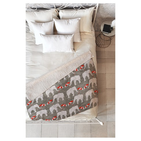 "Gray Animal Holli Zollinger Elephant And Umbrella Sherpa Throw Blanket (50""X60"") - Deny Designs® - image 1 of 2"