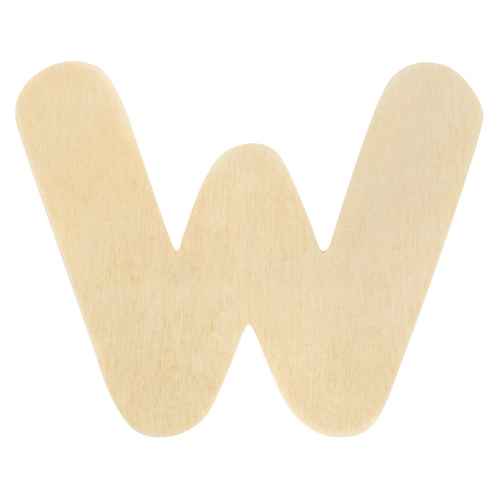 Creatify Wooden Letter W - 3 x 3, Brown