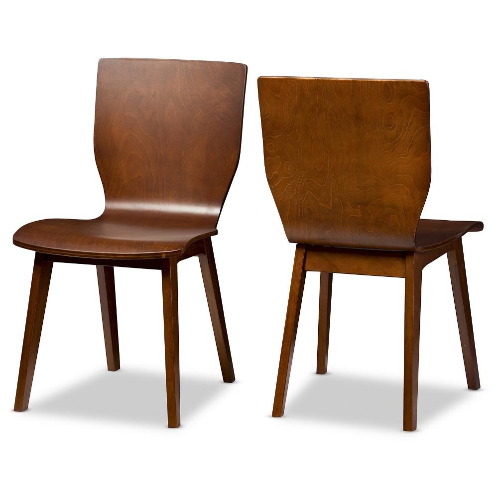 Elsa Mid-century Modern Scandinavian Style Dark Walnut (Brown) Bent Wood Dining Chairs (Set of 2) - Baxton Studio