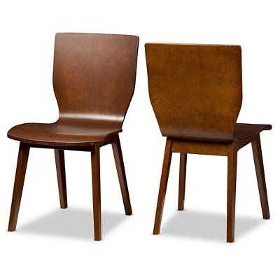 Elsa Mid Century Modern Scandinavian Style Dark Walnut Bent Wood Dining  Chairs (Set Of 2)   Baxton Studio