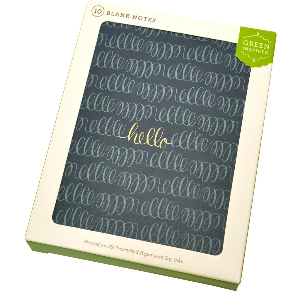 Image of 10ct Hello Loops Blank Cards - Green Inspired