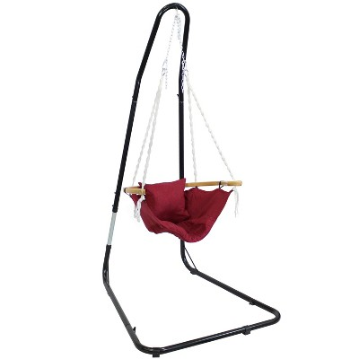 Olefin Audrey Hammock Chair with Stand - Red - Sunnydaze Decor